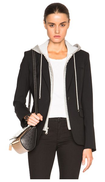 Veronica Beard Classic Blazer with Hoodie Dickey in black - Self: 96% wool 4% elastan - Contrast Fabric: 80% cotton...