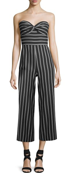 3a8d42c5f5d Veronica Beard Cypress Strapless Striped Wide-Leg Jumpsuit in Black ...