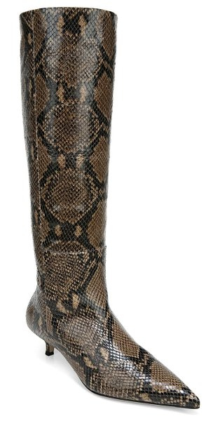 Veronica Beard freda pointed toe boot in espresso snake print leather