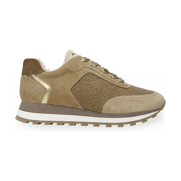 Veronica Beard Hartley Mixed Leather Shearling Runner Sneakers in sand/gold