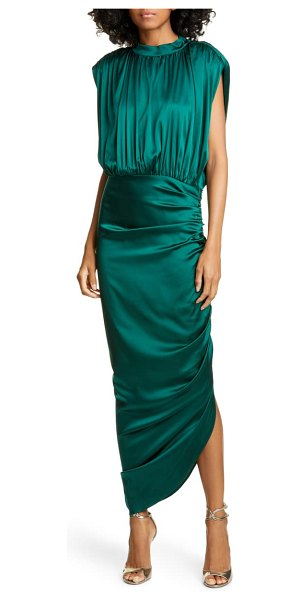 Veronica Beard kendall ruched stretch silk satin dress in green