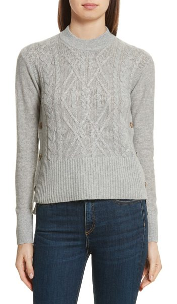 Veronica Beard kenna cashmere sweater in grey - Deep side slits offer flashes of skin or whatever...
