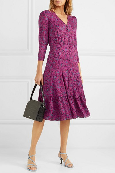 Veronica Beard lasanna tiered floral-print silk crepe de chine midi dress in purple