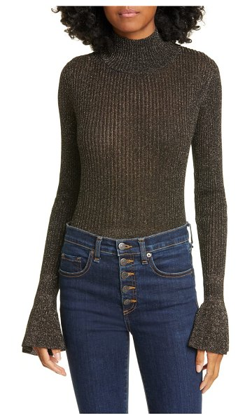 Veronica Beard lilia flare cuff metallic turtleneck sweater in black