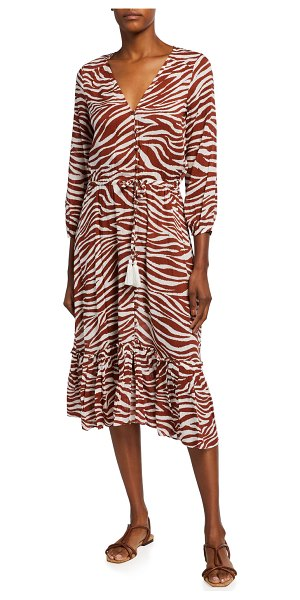 Veronica Beard Mallory Printed Tie-Waist Coverup Dress in rust