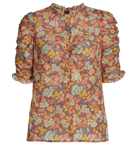 Veronica Beard natuka floral-print ruched blouse in neutral