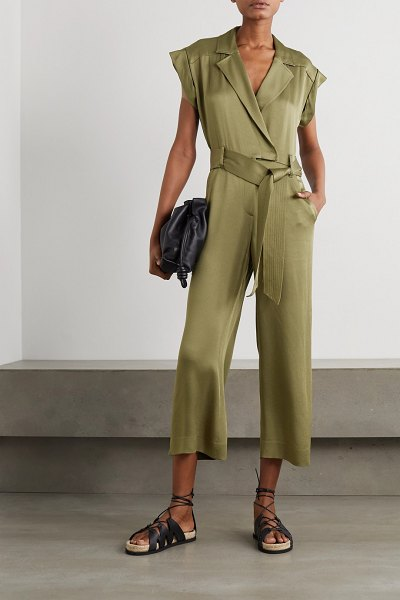 Veronica Beard ophelia belted satin-crepe jumpsuit in army green