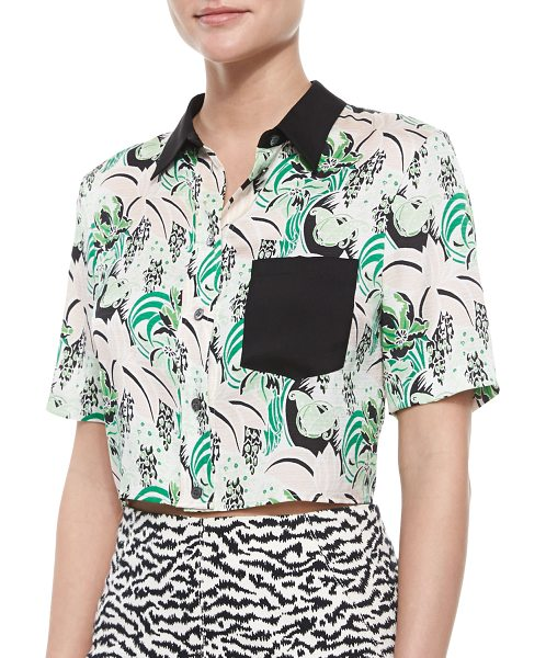 Veronica Beard Printed Stretch-Silk Crop Top in palm garden - Veronica Beard top in floral-print, stretch georgette...