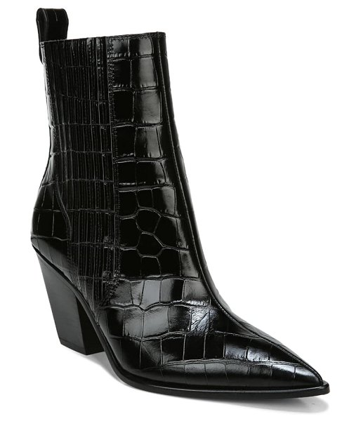Veronica Beard sanai pointed toe croc embossed bootie in black