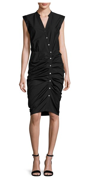 Veronica Beard Sleeveless Ruched Poplin Shirtdress in black