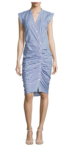 Veronica Beard Sleeveless Ruched Striped Shirtdress in blue/white