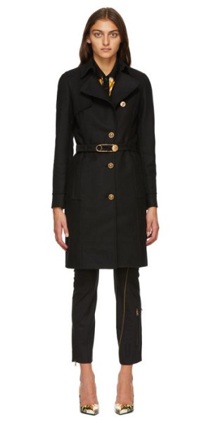 VERSACE black belted safety pin coat in a1008 nero