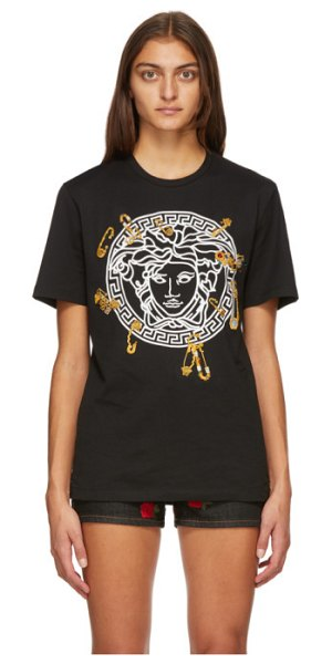 VERSACE black medusa safety pin t-shirt in a3513 nero
