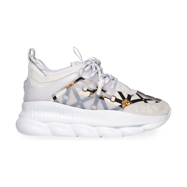 VERSACE chain reaction chunky sneakers in black/white