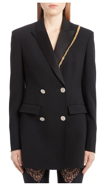 VERSACE chain trim double breasted crepe cady blazer in black