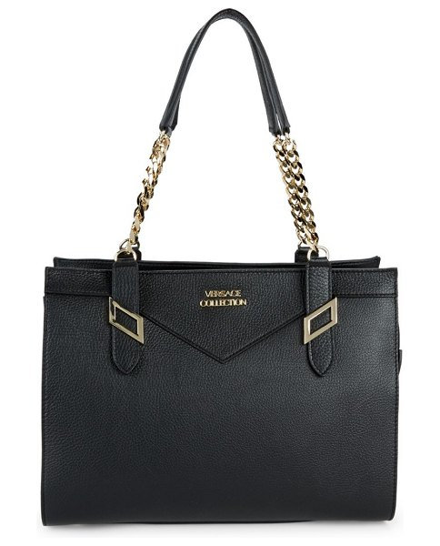 Versace Collection Leather Satchel Bag in Black  fcc0931ea8f73