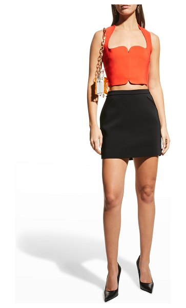 VERSACE Cropped Sweetheart Cady Blouse in red