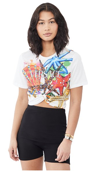 VERSACE cropped t-shirt in multi