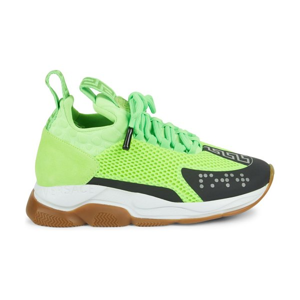 VERSACE Cross Chainer Sneakers in lime black