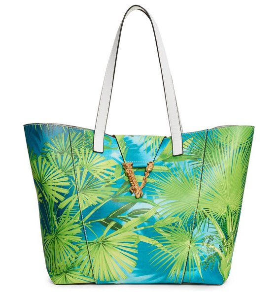 VERSACE FIRST LINE st. palm leather tote in verde multi/ oro tribute