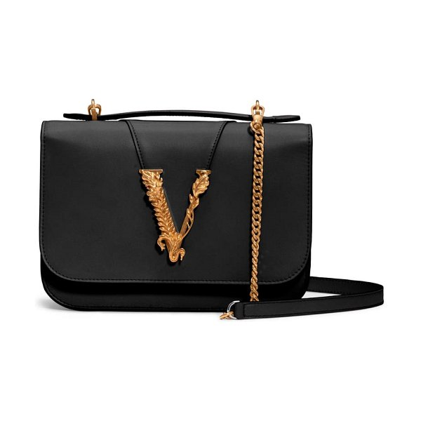 VERSACE FIRST LINE v leather top handle bag in black/ tribute gold/ palladium