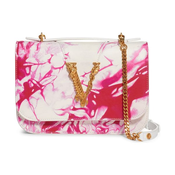 VERSACE FIRST LINE verace first line virtus tie dye leather crossbody bag in fuxia/ bianco/ oro tribute