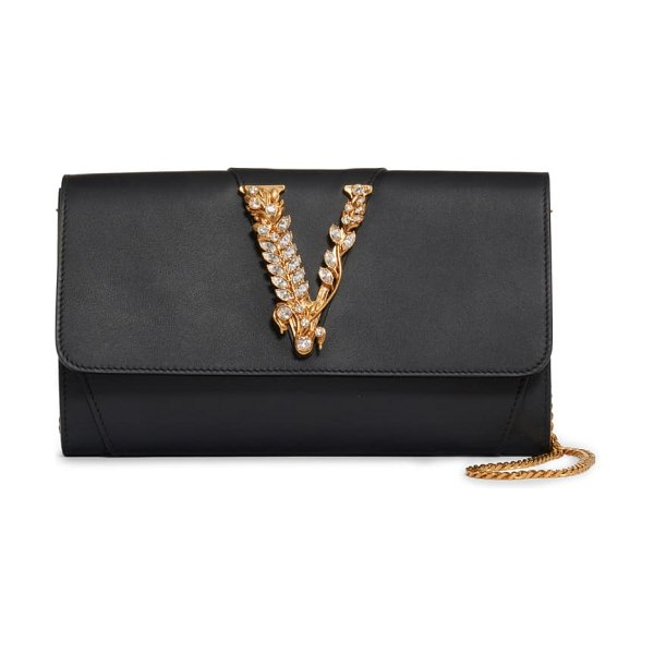 VERSACE FIRST LINE virtus leather clutch in nero/ oro tribute
