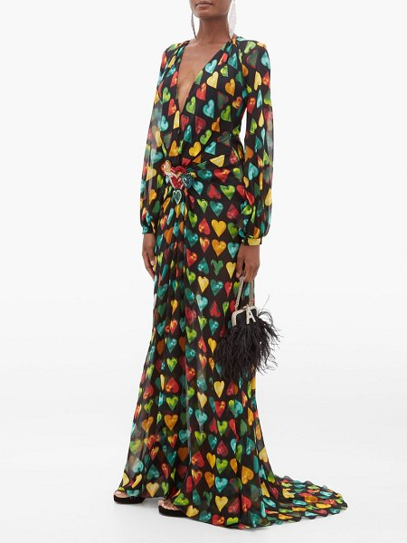 VERSACE heart print embellished plaque silk chiffon gown in black multi