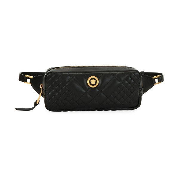 VERSACE Icon Quilted Leather Belt Bag in black