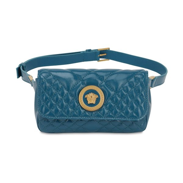 VERSACE Icon quilted patent leather belt bag in deep acqua