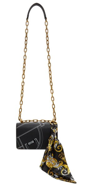 VERSACE JEANS COUTURE black baroque seam print logo bag in e899 black