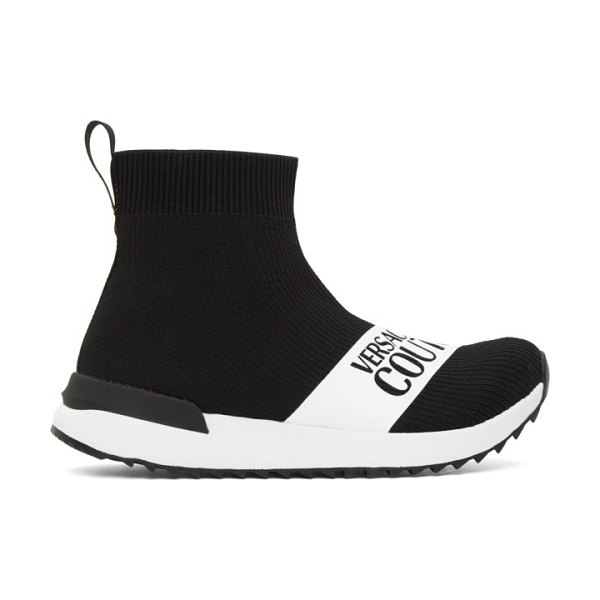 VERSACE JEANS COUTURE black institutional logo sock sneakers in e899 black