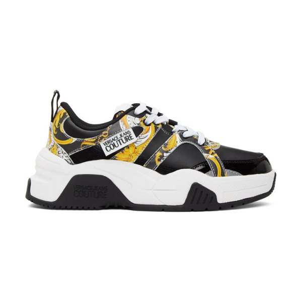 VERSACE JEANS COUTURE black logo baroque sneakers in em27 bk,gol