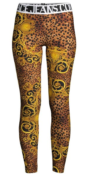VERSACE JEANS COUTURE lady fuseaux animal-print leggings in gold