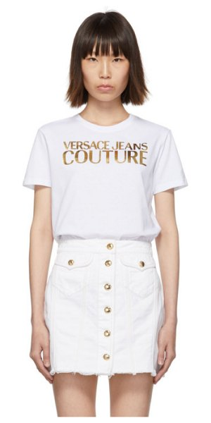 VERSACE JEANS COUTURE white logo t-shirt in e003 white