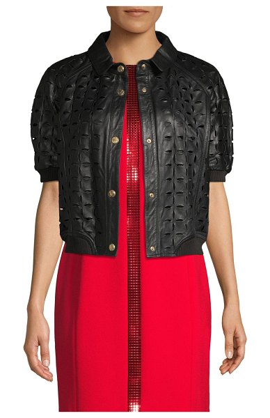 Versace Jeans Perforated Leather Jacket in nero
