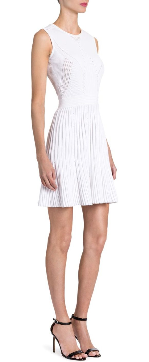 Versace Knit Fit Flare Dress In White Rib With