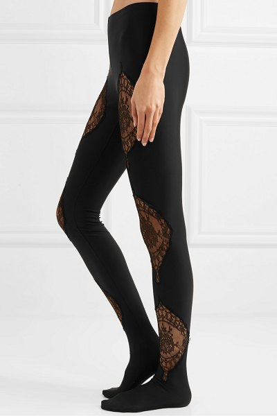 VERSACE lace-paneled stretch-jersey leggings in black