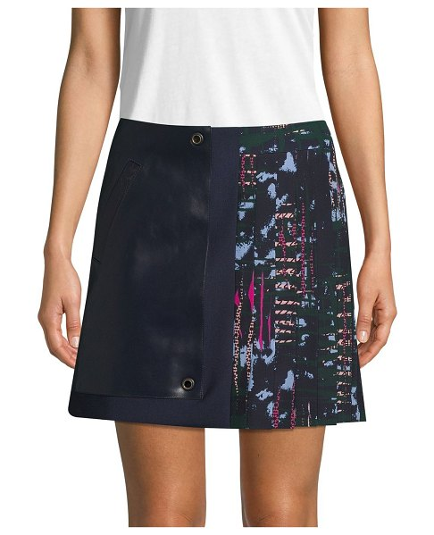VERSACE Leather-Trimmed Mini Skirt in navy
