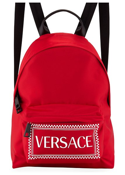 VERSACE Logo Nylon Backpack in red/white - Versace nylon backpack with logo-print front. Rolled...