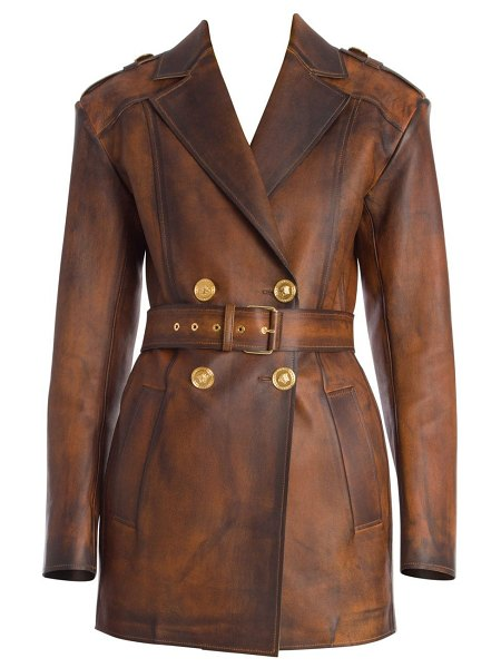 VERSACE long nappa leather jacket in antique brown