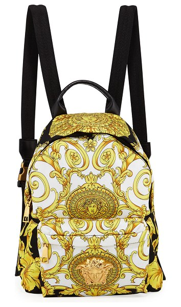 VERSACE Medusa Nylon Backpack in black pattern - Versace nylon, PVC and leather backpack with allover...