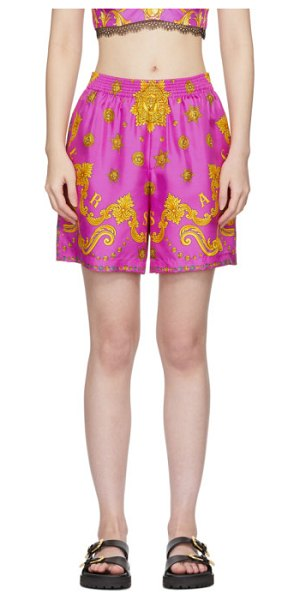 VERSACE pink silk barocco star shorts in a7230 pink