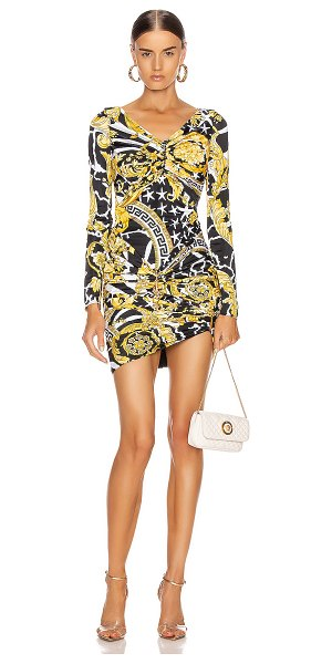 VERSACE print mini bodycon cocktail dress in black & yellow