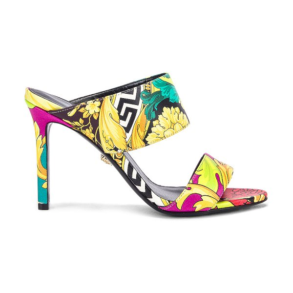 VERSACE print mules in black multicolor