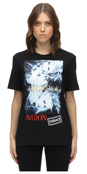 VERSACE Printed & embroidered cotton t-shirt in black
