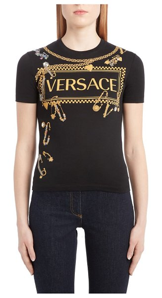 VERSACE safety pin graphic tee in black