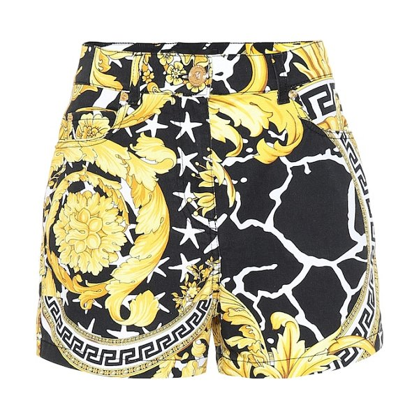 VERSACE savage barocco denim shorts in black