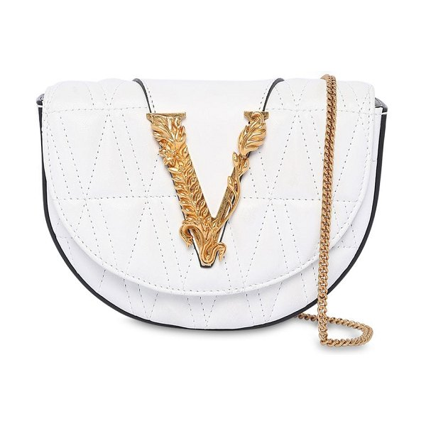 VERSACE Virtus quilted leather belt bag in optic white