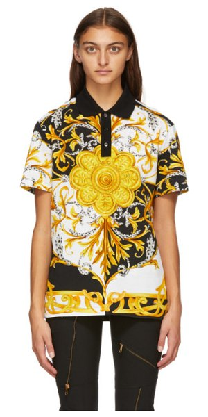 VERSACE white barocco acanthus polo in a7027 white